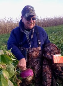 Jerry Luther with large Turnip